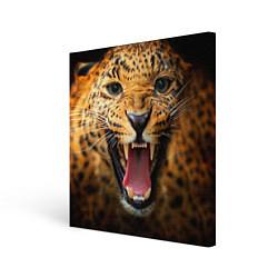 Холст квадратный Рык леопарда цвета 3D-принт — фото 1