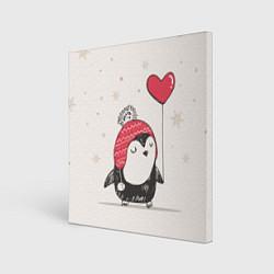 Холст квадратный Влюбленный пингвин цвета 3D-принт — фото 1