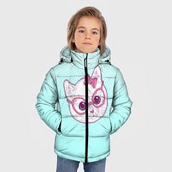 Куртка зимняя для мальчика Умная кошка цвета 3D-черный — фото 2