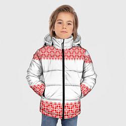 Куртка зимняя для мальчика Славянский орнамент (на белом) цвета 3D-черный — фото 2