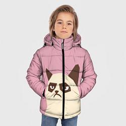 Куртка зимняя для мальчика Grumpy cat pink цвета 3D-черный — фото 2