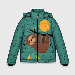 Куртка зимняя для мальчика Довольный ленивец цвета 3D-черный — фото 1