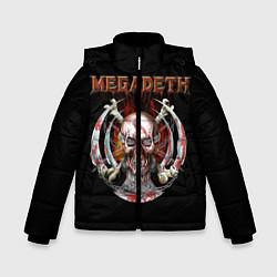Детская зимняя куртка для мальчика с принтом Megadeth: Skull in chains, цвет: 3D-черный, артикул: 10118376806063 — фото 1