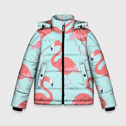 Куртка зимняя для мальчика Розовые фламинго цвета 3D-черный — фото 1