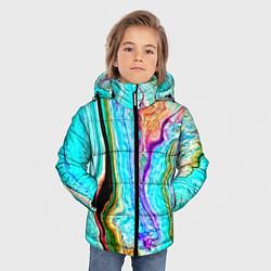 Детская зимняя куртка для мальчика с принтом Цветные разводы, цвет: 3D-черный, артикул: 10134102306063 — фото 2