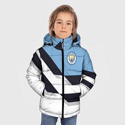 Детская зимняя куртка для мальчика с принтом Manchester City FC: White style, цвет: 3D-черный, артикул: 10136813906063 — фото 2