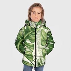 Куртка зимняя для мальчика Тропический папоротник цвета 3D-черный — фото 2