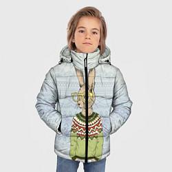 Детская зимняя куртка для мальчика с принтом Кролик хипстер, цвет: 3D-черный, артикул: 10139174706063 — фото 2