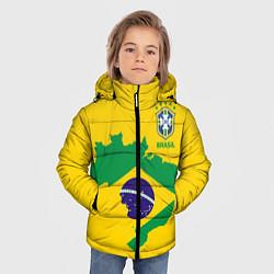 Куртка зимняя для мальчика Сборная Бразилии: желтая цвета 3D-черный — фото 2