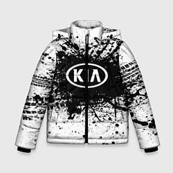 Детская зимняя куртка для мальчика с принтом KIA: Black Spray, цвет: 3D-черный, артикул: 10147678906063 — фото 1
