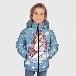 Куртка зимняя для мальчика Единорог на облаках цвета 3D-черный — фото 2