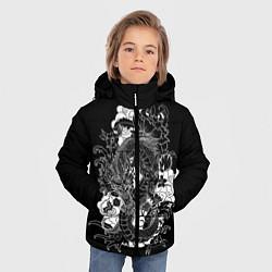 Куртка зимняя для мальчика Японский дракон цвета 3D-черный — фото 2