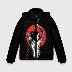 Куртка зимняя для мальчика Девушка с мечом цвета 3D-черный — фото 1