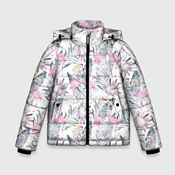 Куртка зимняя для мальчика Тропические фламинго цвета 3D-черный — фото 1