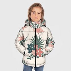 Куртка зимняя для мальчика Розовый фламинго и цветы цвета 3D-черный — фото 2