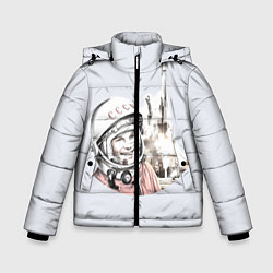 Куртка зимняя для мальчика Юрий Гагарин космический свет цвета 3D-черный — фото 1