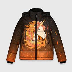 Куртка зимняя для мальчика Огненный единорог цвета 3D-черный — фото 1