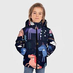 Куртка зимняя для мальчика ЕДИНОРОЖКИ цвета 3D-черный — фото 2