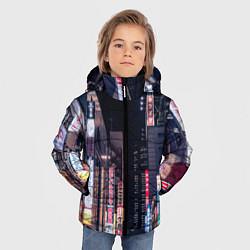 Детская зимняя куртка для мальчика с принтом Ночной Токио, цвет: 3D-черный, артикул: 10209190906063 — фото 2