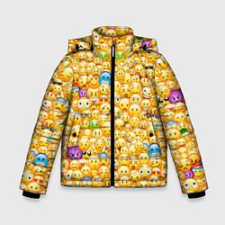 Куртка зимняя для мальчика Смайлики Emoji цвета 3D-черный — фото 1