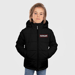 Куртка зимняя для мальчика ПОЛИЦИЯ НА СПИНЕ цвета 3D-черный — фото 2