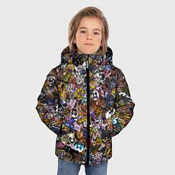 Куртка зимняя для мальчика FNaF стикербомбинг цвета 3D-черный — фото 2