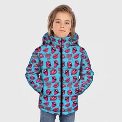 Куртка зимняя для мальчика Губы Поп-арт цвета 3D-черный — фото 2