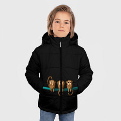 Детская зимняя куртка для мальчика с принтом Обезьяны слух зрение речь трио, цвет: 3D-черный, артикул: 10251111906063 — фото 2