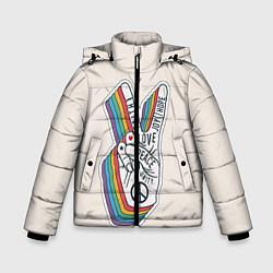 Куртка зимняя для мальчика PEACE and LOVE Z цвета 3D-черный — фото 1