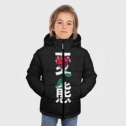Куртка зимняя для мальчика Цветок в иероглифах цвета 3D-черный — фото 2