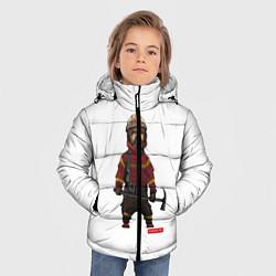 Куртка зимняя для мальчика Пожарное Делопожарный,белая цвета 3D-черный — фото 2