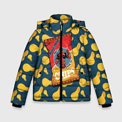 Детская зимняя куртка для мальчика с принтом Deadpool чипсы, цвет: 3D-черный, артикул: 10275016306063 — фото 1