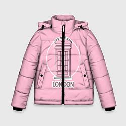 Куртка зимняя для мальчика Телефонная будка, London цвета 3D-черный — фото 1