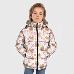 Куртка зимняя для мальчика Оленята и цветы цвета 3D-черный — фото 2