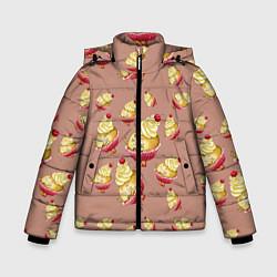 Куртка зимняя для мальчика Пирожное с вишней цвета 3D-черный — фото 1