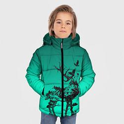 Куртка зимняя для мальчика Олень из лесных символов цвета 3D-черный — фото 2