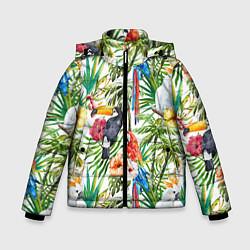 Куртка зимняя для мальчика Попугаи в тропиках цвета 3D-черный — фото 1
