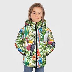 Детская зимняя куртка для мальчика с принтом Попугаи в тропиках, цвет: 3D-черный, артикул: 10065274406063 — фото 2