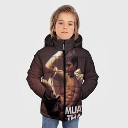 Куртка зимняя для мальчика Муай тай боец цвета 3D-черный — фото 2