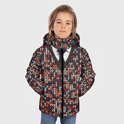 Куртка зимняя для мальчика Вязанный узор с галстуком цвета 3D-черный — фото 2