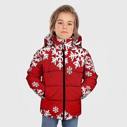 Куртка зимняя для мальчика Снежинки цвета 3D-черный — фото 2