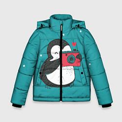 Куртка зимняя для мальчика Пингвин с фотоаппаратом цвета 3D-черный — фото 1