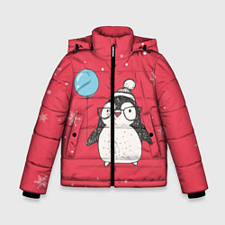 Куртка зимняя для мальчика Влюбленная пингвинка - фото 1