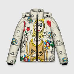 Куртка зимняя для мальчика Червовая дама цвета 3D-черный — фото 1