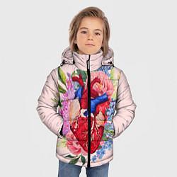 Куртка зимняя для мальчика Цветочное сердце цвета 3D-черный — фото 2