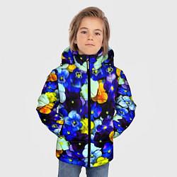 Детская зимняя куртка для мальчика с принтом Синие цветы, цвет: 3D-черный, артикул: 10081584206063 — фото 2