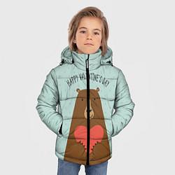 Куртка зимняя для мальчика Медведь с сердцем цвета 3D-черный — фото 2