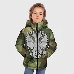 Куртка зимняя для мальчика Камуфляж и герб цвета 3D-черный — фото 2