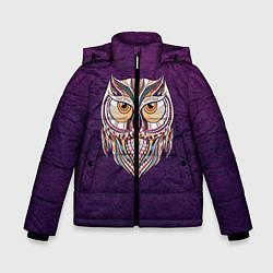 Детская зимняя куртка для мальчика с принтом Расписная сова, цвет: 3D-черный, артикул: 10086919706063 — фото 1