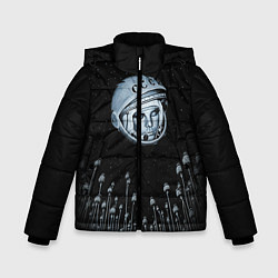 Детская зимняя куртка для мальчика с принтом Гагарин в небе, цвет: 3D-черный, артикул: 10091680706063 — фото 1